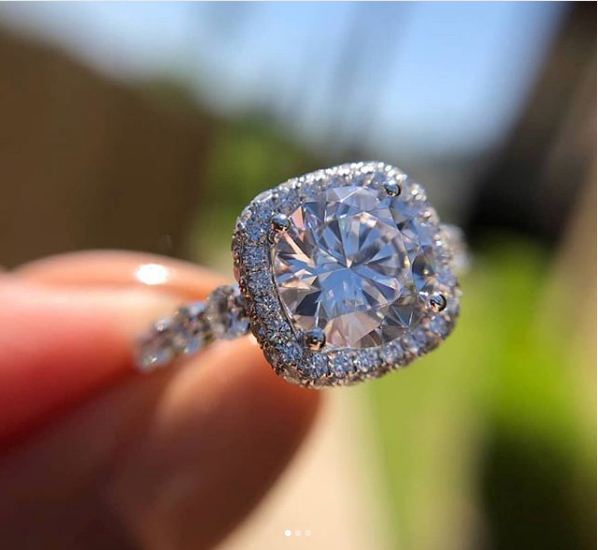 Unique 1.65Ct Round White Moissanite Classic Halo Engagement Ring In 14k White Gold