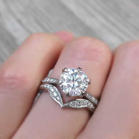 2.15Ct Real Round Moissanite Solitaire Engagement Wedding Ring Set 14k White Gold