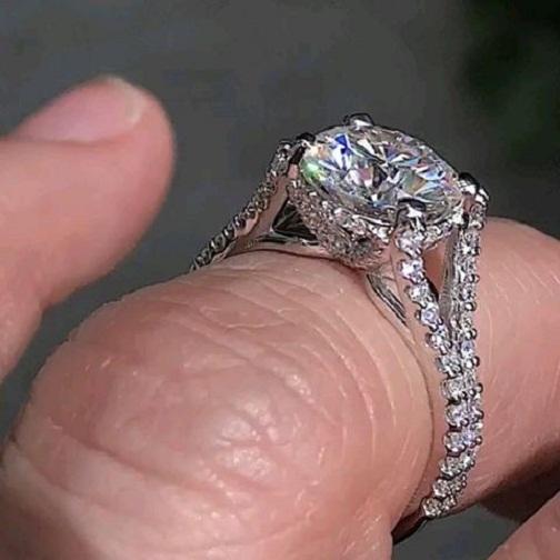 Certified 2.15Ct Brilliant Real Moissanite Split Shank Engagement Ring Solid 14k White Gold