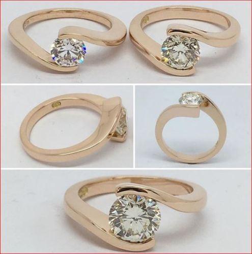 2.Ct Near White Moissanite Half Bezel Engagement Bridal Ring Solid 14k Yellow Gold