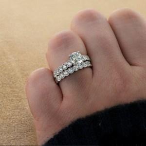 1.88Ct Real Round Moissanite & Side Bezel Diamond Engagement Ring Set 14k White Gold