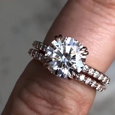 2Ct Round VVS1 Moissanite Diamond Wedding Engagement Ring Set 14k Rose Gold