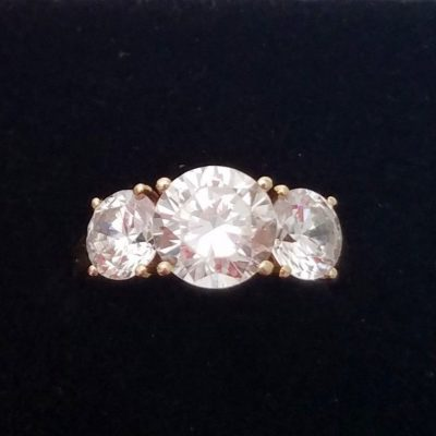 2.15Ct Forever Round White 3 Moissanite Stone Engagement Wedding Ring In 14K Yellow Gold