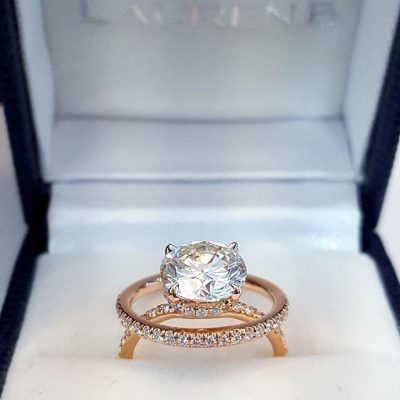 2.18Ct Brilliant Real Moissanite Luxury Bridal Wedding Ring With Set In 14k Yellow Gold