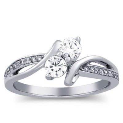 Certified 2.Carat Round Real Moissanite Diamond 2 Stone Engagement Wedding Ring 14k White Gold