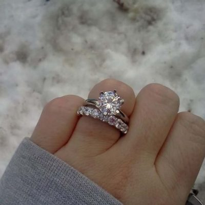 2.25Ct Brilliant Round Cut Moissanite Engagement Ring Wedding Set 14k White Gold