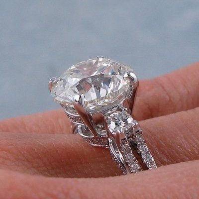 2.34Ct Real Round Moissanite Side Diamond Engagement Wedding Ring 14k White Gold