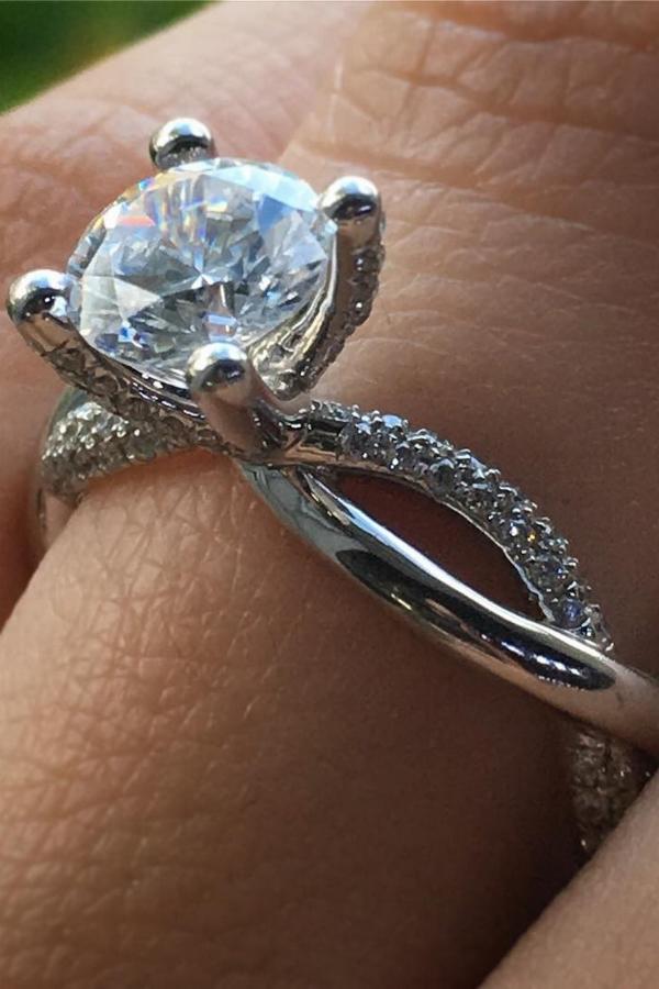Forever 2.00Ct White Moissanite Luxury Engagement Promise Ring 14K White Gold