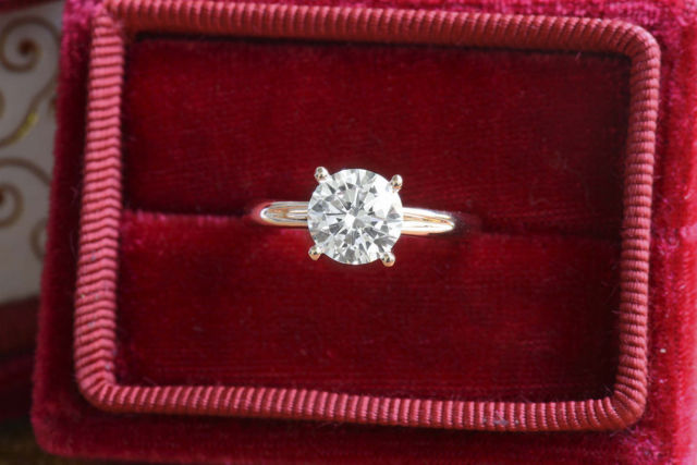 1.88Ct Brilliant Moissanite Solitaire Engagement Wedding Ring Solid 14k Yellow Gold