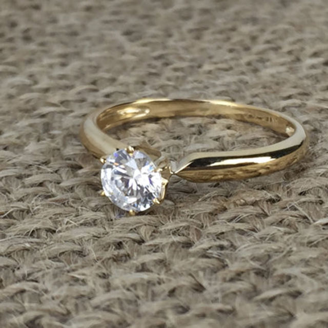 Forever 1.40Ct Real Round Moissanite Engagement Wedding Ring Solid 14k Yellow Gold