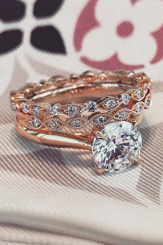 1.65Ct Round Near White Moissanite Engagement Ring & Wedding Band Set 14K Rose Gold