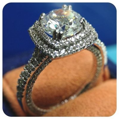Certified 2.Ct Real Round Moissanite Double Halo Diamond Engagement Wedding Ring 14k White Gold