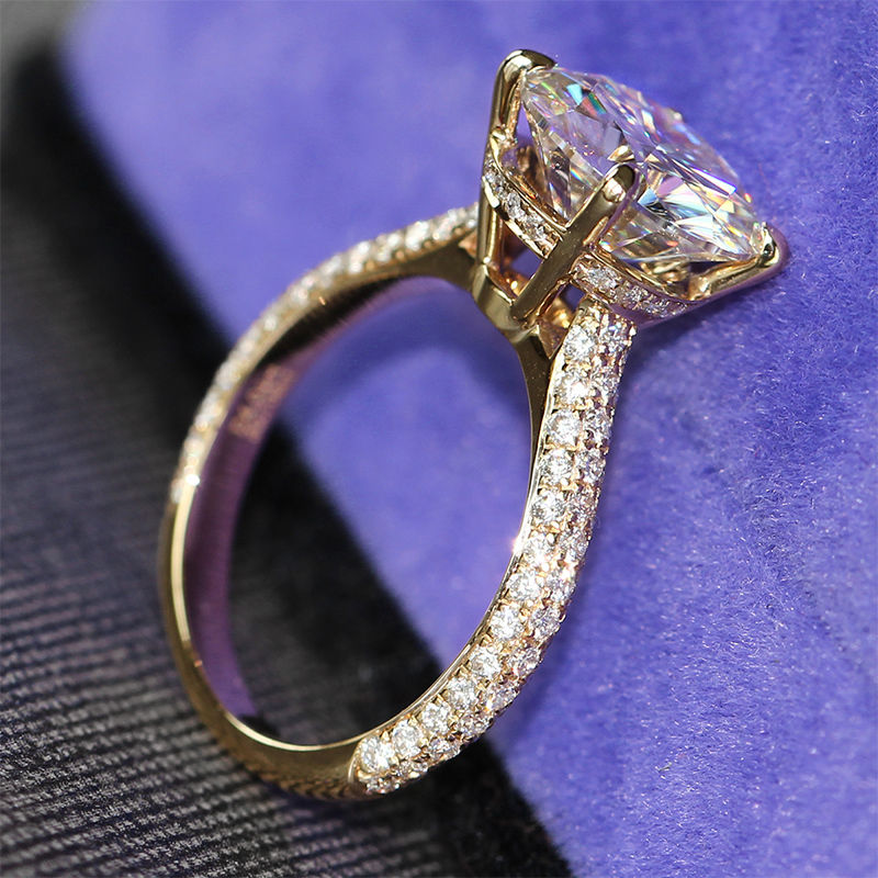 1.88Ct Solitaire Moissanite Micro Pave Wedding Engagement Ring Solid 14k Yellow Gold