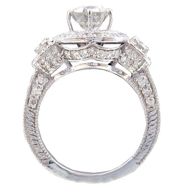 2.05Ct Forever 3 Stone Moissanite Halo Diamond Engagement Wedding Ring In 14k White gold