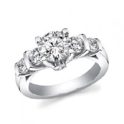 Forever 2.15Ct Real White Moissanite 5 Stone Engagement Wedding Ring Solid 14k white Gold