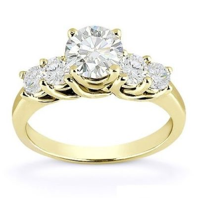 2.18Ct Brilliant Cut Moissanite 5 Stone Engagement Bridal Ring Solid 14k Yellow Gold