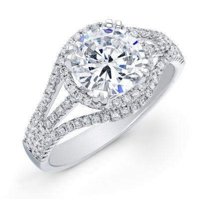 Huge 2.Ct Real Round Moissanite Halo Wedding Engagement Ring In 14k White Gold