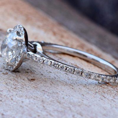 Simple Solitaire 2.14Ct Real Moissanite Engagement Wedding Ring Soild 14k White Gold