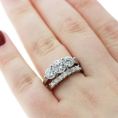 Certified 2.25Ct Brilliant Real Moissanite Engagement Ring & Wedding Eternity Set 14k White Gold