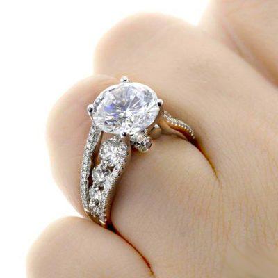 Antique 2.15 Carat Near White Moissanite Wedding Engagement Ring Solid 14K White Gold