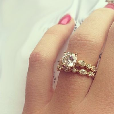 2.10Ct Real Round Moissanite Solitaire Engagement Ring With Wedding Set 14k Yellow Gold
