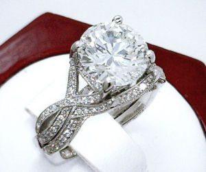 1.88Ct Brilliant Cut White Moissanite Luxury Bridal Wedding Ring Set Solid 14k White Gold