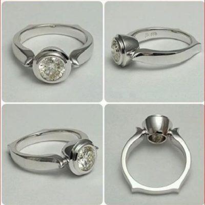 2.Ct Round Brilliant Moissanite Bezel Engagement Wedding Ring Solid 14k White Gold