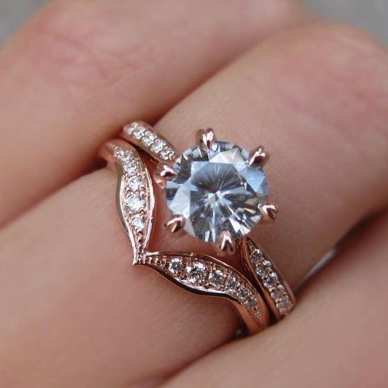 2.05Ct Brilliant White Moissanite Engagement Ring & Wedding Fancy Set Solid 14k Rose Gold