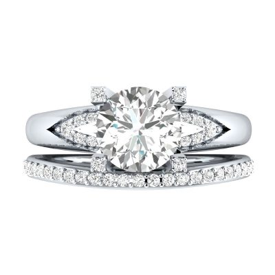 1.80Ct Real Round Near White Moissanite Engagement Ring Wedding Set Solid 14k White Gold