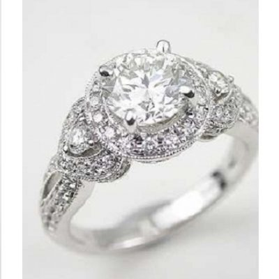 1.77Ct Brilliant Real Moissanite Diamond Wedding Engagement Ring Solid 14k White Gold