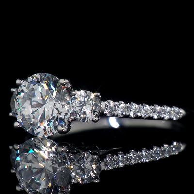 2.Ct Round Cut Moissanite 3 Stone Engagement Wedding Ring Solid 14k White Gold