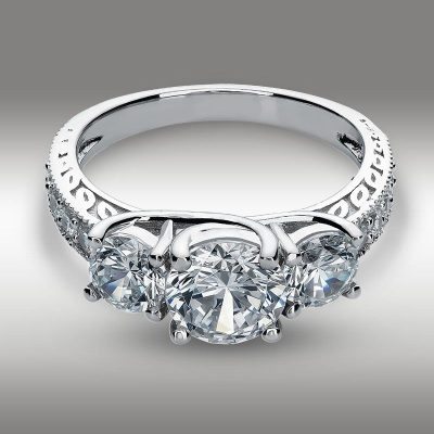 Certified 2.10Ct Real Moissanite 3 Stone Engagement & Wedding Ring In 14k White Gold