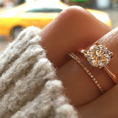 2.25Ct Real Moissanite Solitaire Engagement Wedding Ring Set Solid 14k Rose Gold