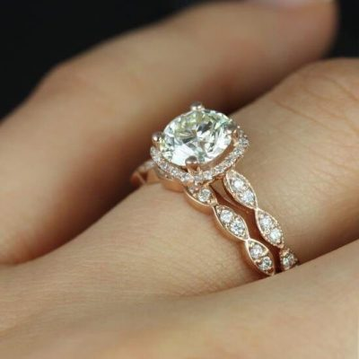 Forever 1.88Ct Round Cut Moissanite Wedding Engagement Ring Set 14k Rose Gold