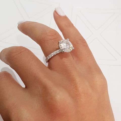 2.30Ct Brilliant Real Moissanite Engagement & Anniversary Ring Solid 14k White Gold
