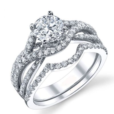 2.Carat Round Moissanite Diamond Luxury Bridal Wedding Ring Set 14k White Gold