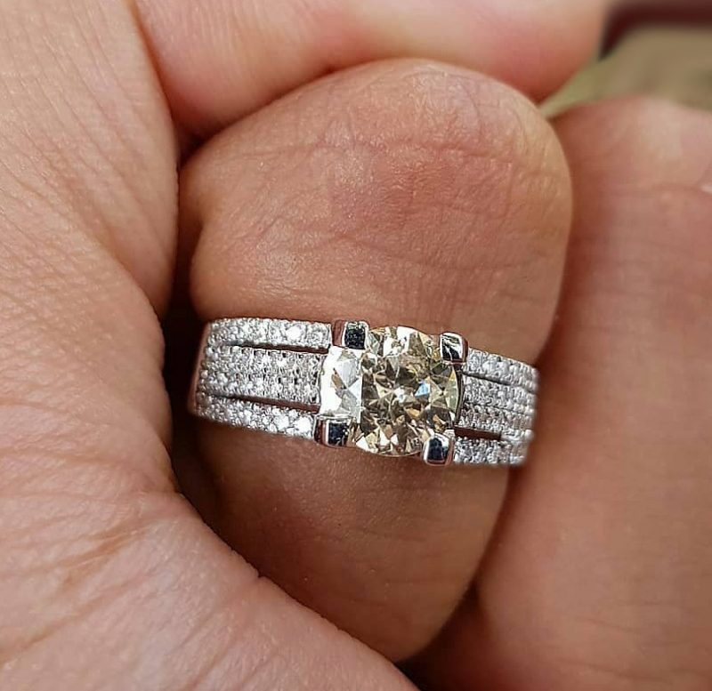 Unique 1.50Ct Real White Moissanite Engagement Wedding Ring Solid 14k White Gold