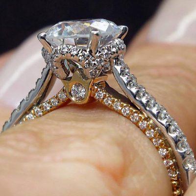 Forever 2.Ct Real Moissanite Diamond Engagement & Wedding Ring In 14k White Gold