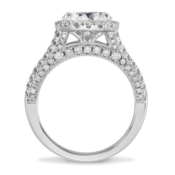 1.85ct Round Cut White Moissanite Halo Diamond Engagement Ring Solid 14k White Gold