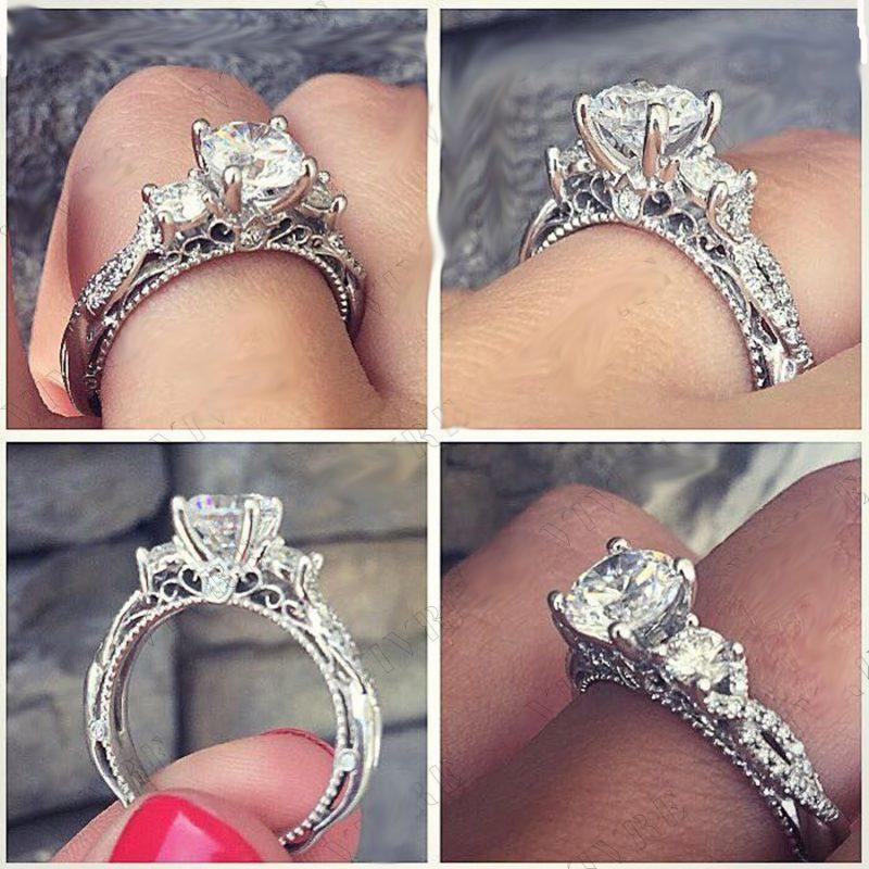 2.10Ct Brilliant Real 3-Stone Moissanite Diamond Engagement Wedding Ring Solid 14k White Gold