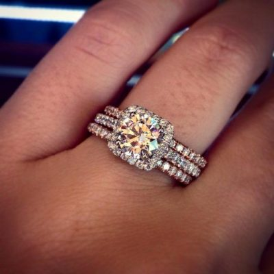 1.80Ct Real Round Moissanite Engagement Ring & Bridal 3 Pieces Ring In 14k White Gold