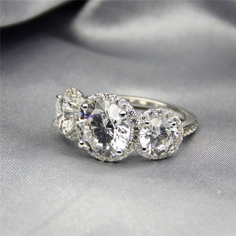 3 Stone Forever 2.30Ct Real Moissanite Wedding Engagement Ring Solid 14k White Gold