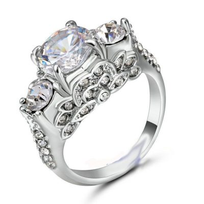 Antique 2.Ct Real White Moissanite 3 Stone Engagement Wedding Ring 14k White Gold
