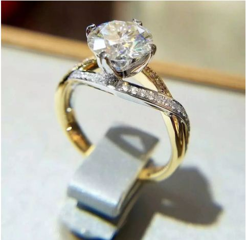 2.25Ct Brilliant Real Moissanite Diamond Luxury Engagement Wedding Ring 14K Yellow Gold