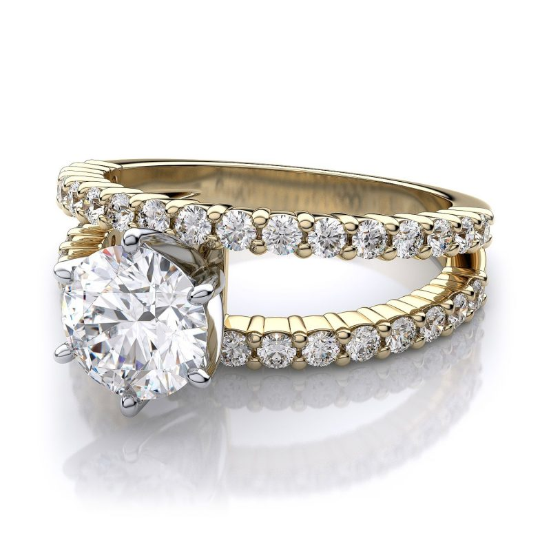 Unique 1.88Ct Real White Moissanite Engagement & Wedding Ring 14k Yellow Gold
