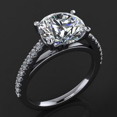 1.75Ct White Moissanite Diamond Engagement Ring Wedding Set Solid 14k White Gold