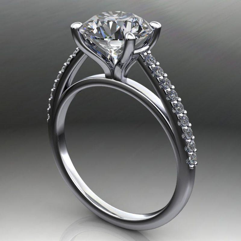 1.75Ct White Moissanite Diamond Engagement Ring Wedding Set Solid 14k White Gold