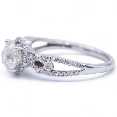 2.Carat Real Round White Moissanite Wedding Engagement Ring Solid 14k White Gold