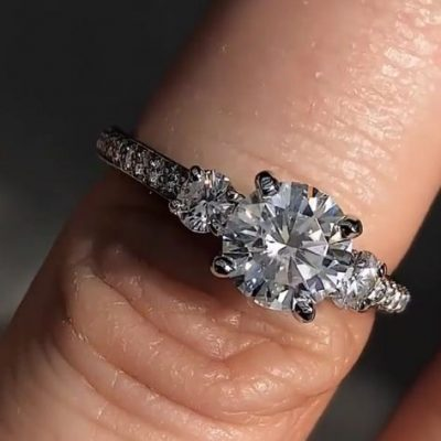 3 Stone Brilliant Real Moissanite Diamond 2.30Ct Engagement Wedding Ring 14k White Gold