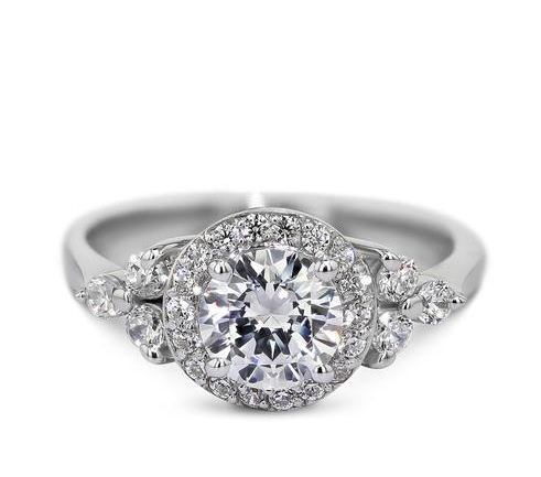 Unique 1.60Ct Round Cut Moissanite Halo Engagement Wedding Ring Solid 14k White Gold